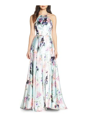 Blondie Nites floral print charmeuse evening dress