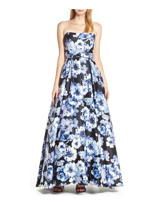 Blondie Nites floral print strapless satin evening dress