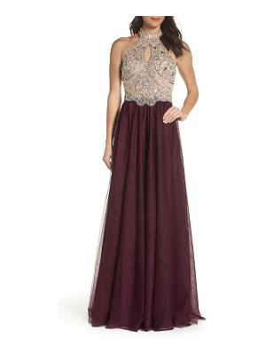 Blondie Nites halter neck beaded bodice ballgown