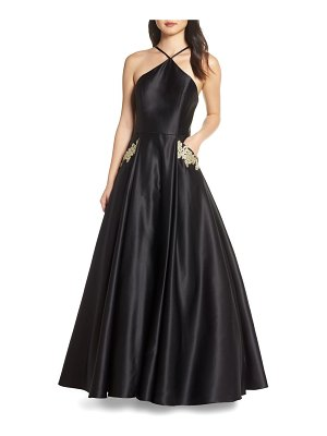 Blondie Nites halter neck embellished pocket satin evening dress