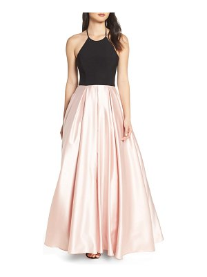 Blondie Nites halter satin skirt evening dress