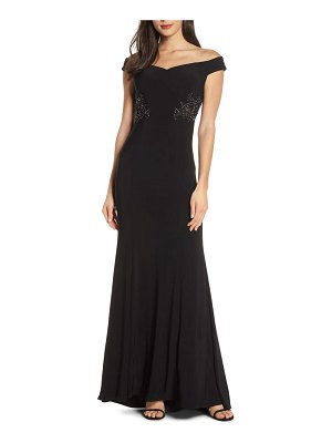 Blondie Nites off the shoulder embellished waist evening dress