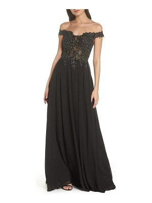Blondie Nites off the shoulder illusion back gown