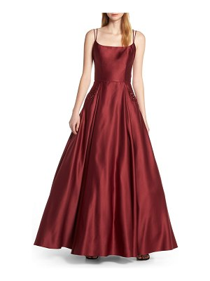 Blondie Nites square neck embellished pocket satin evening dress