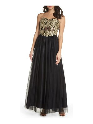 Blondie Nites strapless applique ballgown
