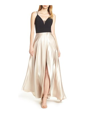 Blondie Nites strappy back crepe & charmeuse evening dress