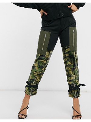 Blue Revival sequin color block cargo pants in khaki-green