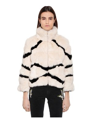 BLUGIRL Striped rabbit fur jacket