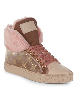 Blumarine Faux-Fur Leather High-Top Sneakers