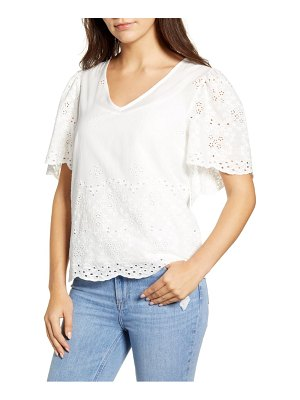 Bobeau nyla flutter sleeve cotton eyelet top