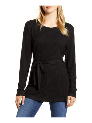 Bobeau ribbed knit cozy belted top