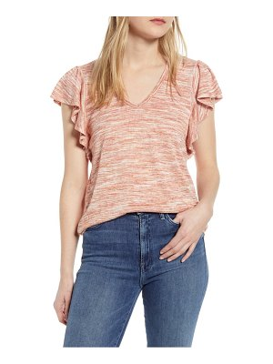 Bobeau space dye flutter sleeve t-shirt