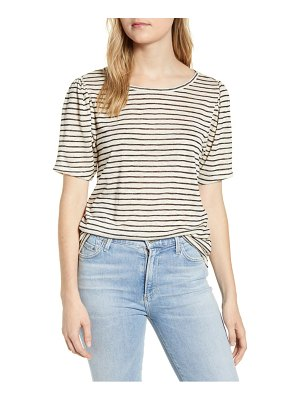Bobeau stripe puff sleeve t-shirt