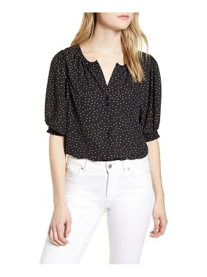 Bobeau valerie dotted puff sleeve blouse