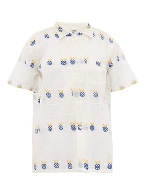 Bode apple-embroidered sheer cotton bowling shirt