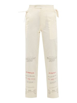 Bode cropped mill-print cotton-gauze trousers