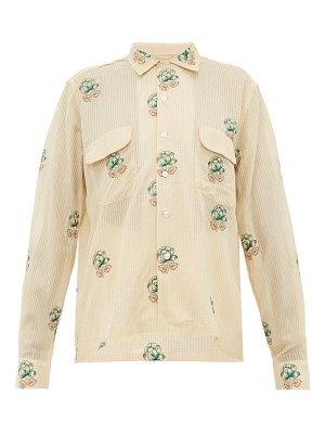 Bode floral-embroidered cotton-blend shirt