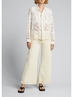 Bode One-of-a-Kind Cutwork Lace Linen Shirt