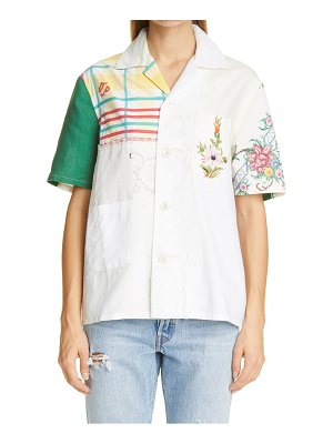 Bode one of a kind embroidered napkin cotton shirt