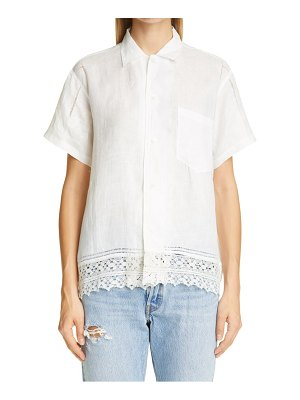 Bode one of a kind lace cutwork linen shirt