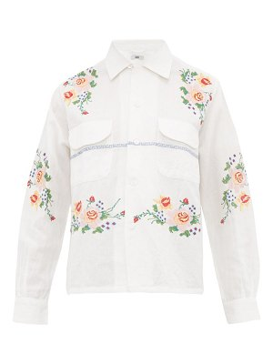 Bode pagoda embroidered cotton-blend shirt