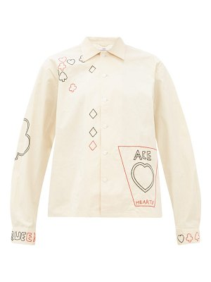 Bode playing card-embroidered cotton shirt