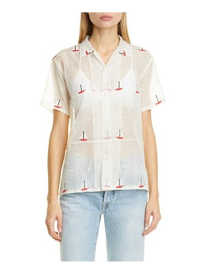 Bode sailboat textured sheer shirt