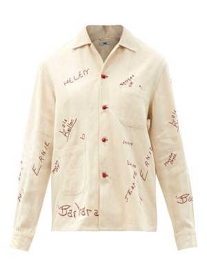 Bode schoolhouse signature-embroidered cotton shirt