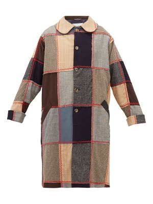 Bode topstitched patchwork wool coat