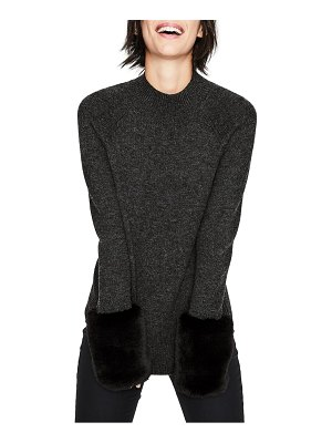 BODEN benedicta faux fur trim sweater