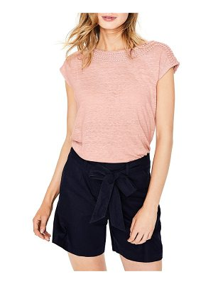 BODEN embroidered neck linen top