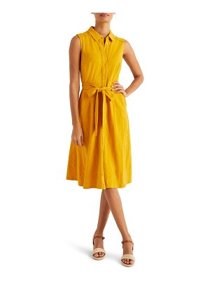 BODEN rhoda pom trim sleeveless shirtdress
