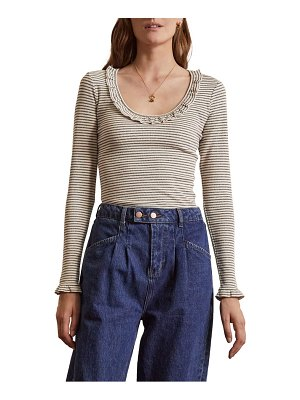 BODEN voop rib frill long sleeve jersey top
