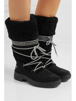 Bogner alta badia logo-print shearling and suede snow boots