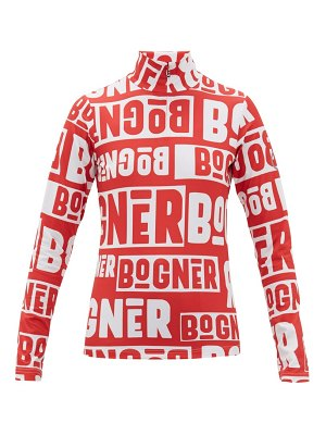 Bogner beline logo print quarter zip thermal top