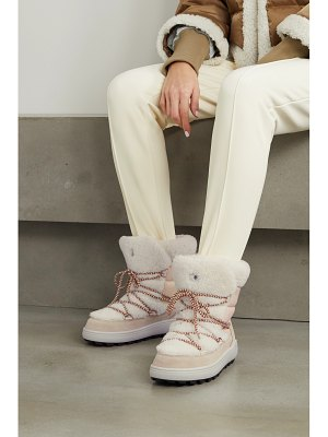 Bogner chamonix 3 suede, leather and shearling snow boots - off-white