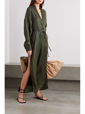Bondi Born belted cotton and linen-blend maxi dress