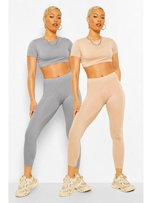 Boohoo 2 Pack Crop Top And Legging Co-Ord Set