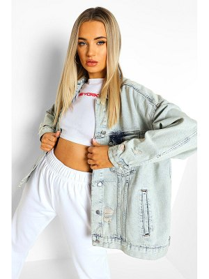 Boohoo Acid Wash Flannel Oversized Jean Jacket