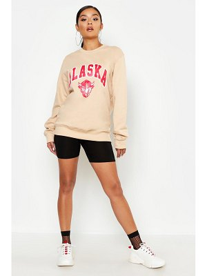 Boohoo Alaska Slogan Sweat