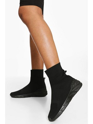 Boohoo All Black Knitted Sock Sneakers