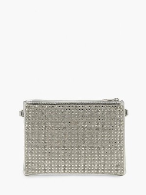 Boohoo All Over Diamante Zip Top Clutch With Chain