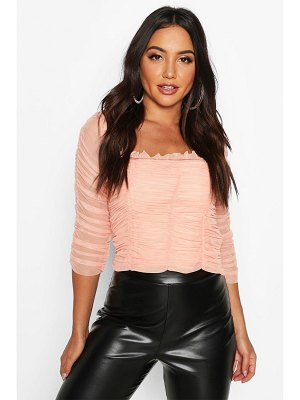 Boohoo All Over Ruched Mesh Top
