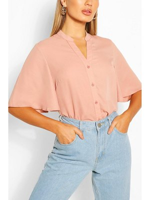 Boohoo Angel Sleeve Button Down Woven Top