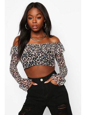 Boohoo Animal Print Mesh Off The Shoulder Top