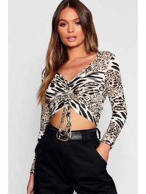 Boohoo Animal Print Ruched Front Top