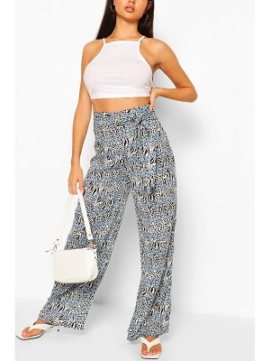 Boohoo Animal Print Woven Wide Leg Pants
