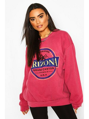 Boohoo Arizona Slogan Washed Oversized Sweat