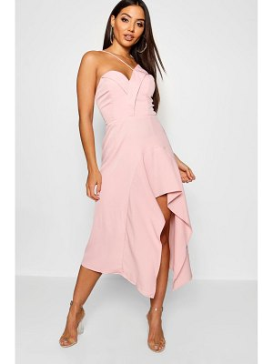 Boohoo Asymmetric Ruffle Hem Midi Dress