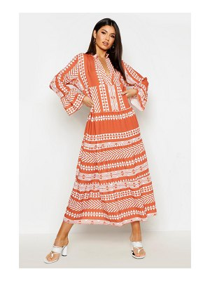 Boohoo Aztec Smock Maxi Dress